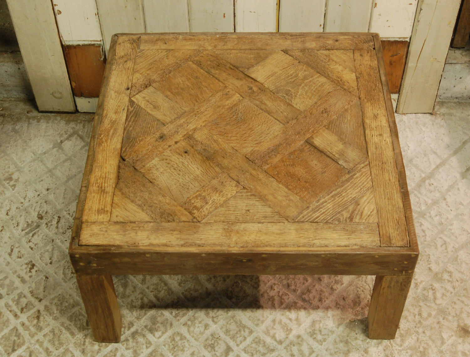 Reclaimed Oak Parquet De Versailles Panel Coffee Table ref 910