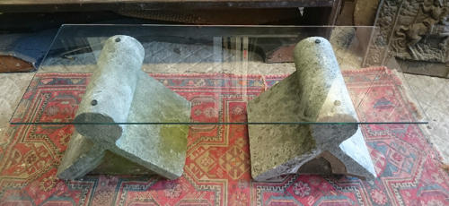 Upcycled Stone and Glass Coffee Table  ref 843