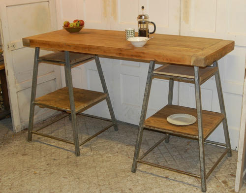 Rustic Pine Kitchen Island /Standing Office Desk ref 902