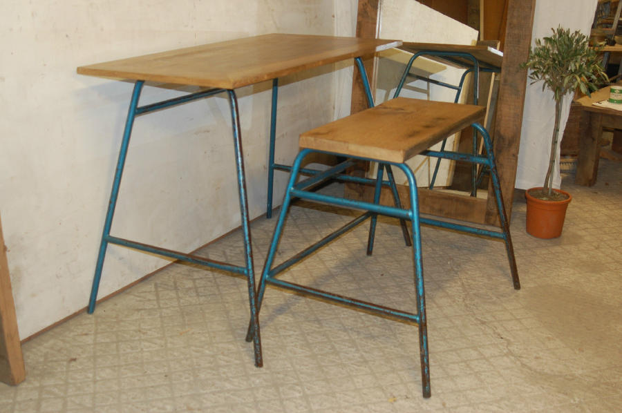 Office Desk And Bench with Oak Tops Industrial Style ref 832