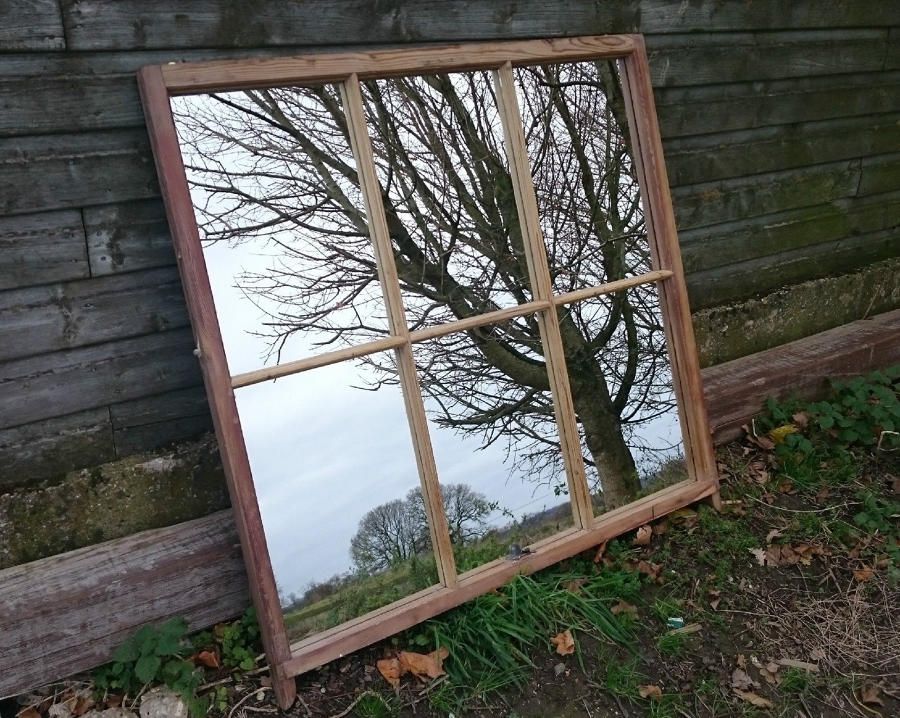 A Large Reclaimed Pine Sash Window Mirror Rustic Upcycled ref 892