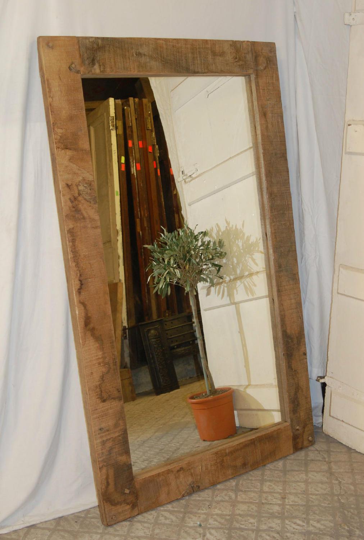 A Fantastic Rustic Reclaimed Oak Framed Mirror ref 827