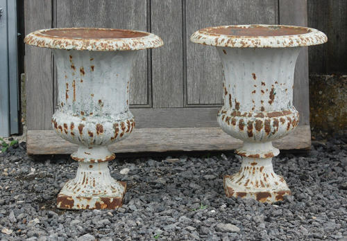 Pair of Cast Iron Reclaimed Shabby Chic Urns for Internal Use ref 700