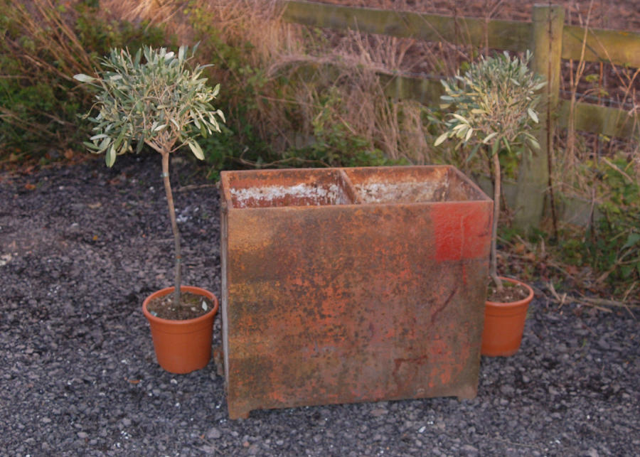 A Heavy Reclaimed Industrial Style Cast Iron Garden Planter ref 884