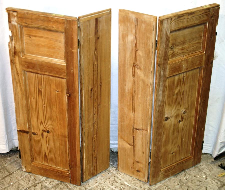 CS0012 Pair of Georgian Stripped Pine Shutters w 2 Shutters & 2 Flaps