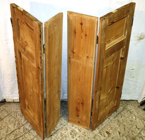 CS0014 Pair of Georgian Stripped Pine Shutters w 2 Shutters & 2 Flaps