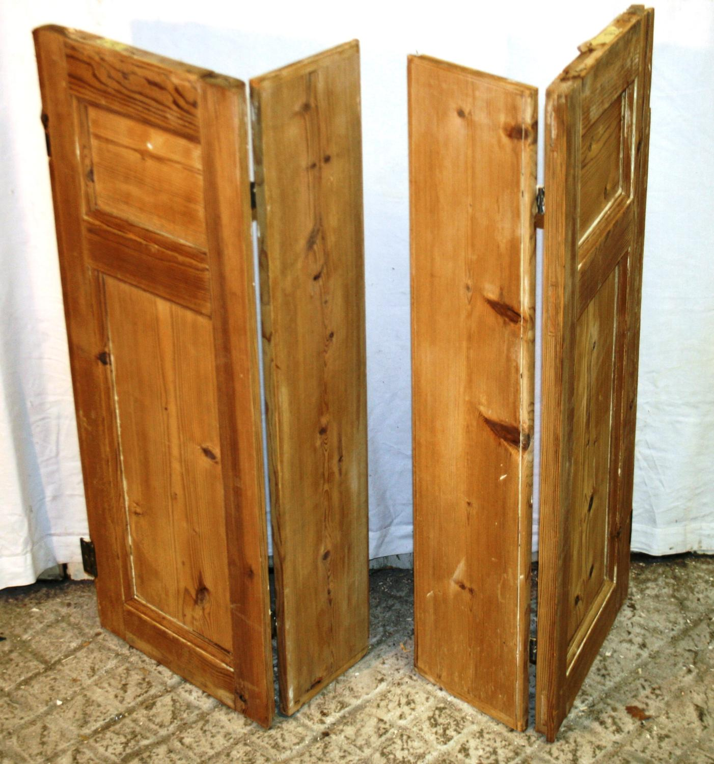 CS0016 Pair of Georgian Stripped Pine Shutters w 2 Shutters & 2 Flaps