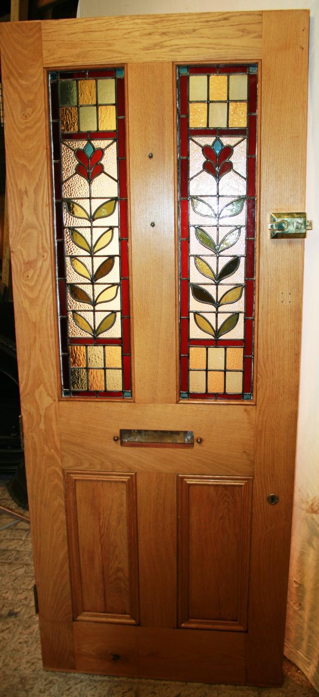 DE0727 A Decorative Victorian Oak Front Door with Original Stained Gla