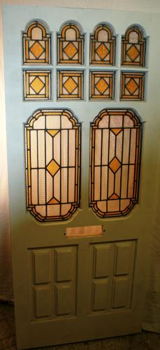 DE0728 A Beautiful Victorian Front Door with Stained Glass Panels