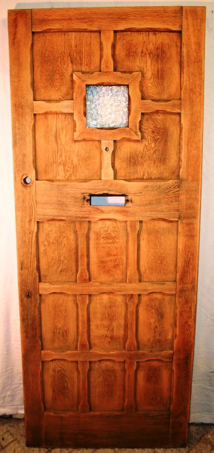 DE0735 A Reclaimed Oak Panelled Front Door with a Glazed Panel
