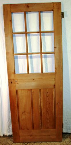 DI0646 A Lovely Victorian 9 Panel Pine Door ready for Glazing