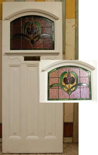 DE0741 Edwardian Front Door with Original Stained Glass
