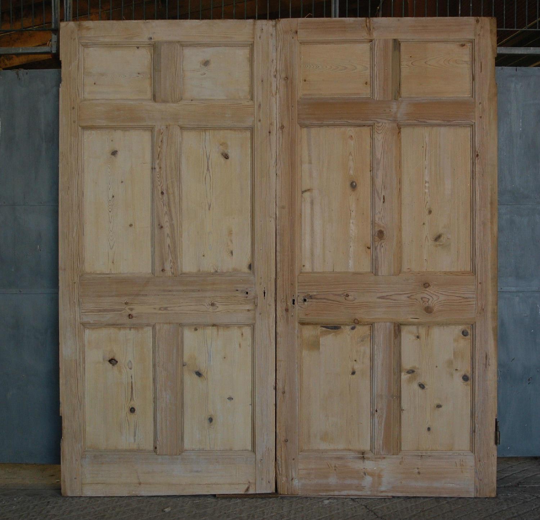 DP0230 Pair of Georgian 6 Panel Stripped Pine Doors + Architrave