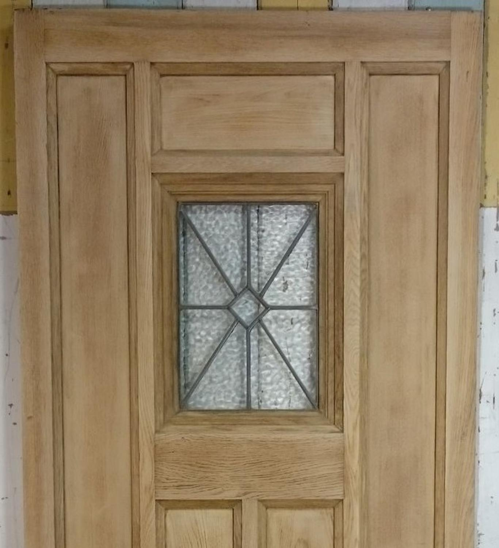 De0744 A Reclaimed Oak Front Door With Glazed Leaded Panel