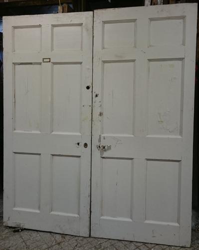 DP0232 Large Pair of Late Georgian 6 Panel Pine Doors