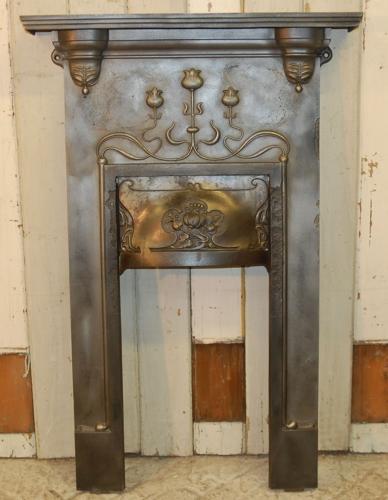 FI0012 A Very Pretty Cast Iron Art Nouveau Combination Fire Front