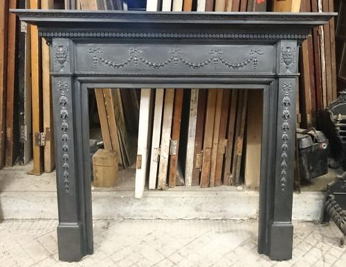 FS0027 A Fantastic Heavy Victorian Cast Iron Fire Surround Adam Style