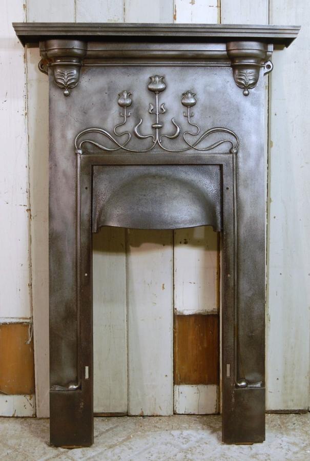 FC0031 A Very Pretty Cast Iron Art Nouveau Combination Fire Front