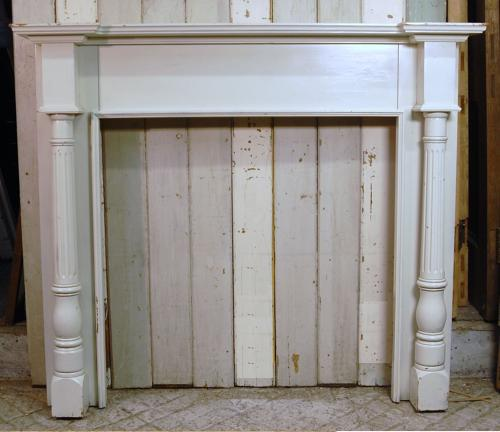 FS0031 A Large Reclaimed Decorative Painted Pine Fire Surround