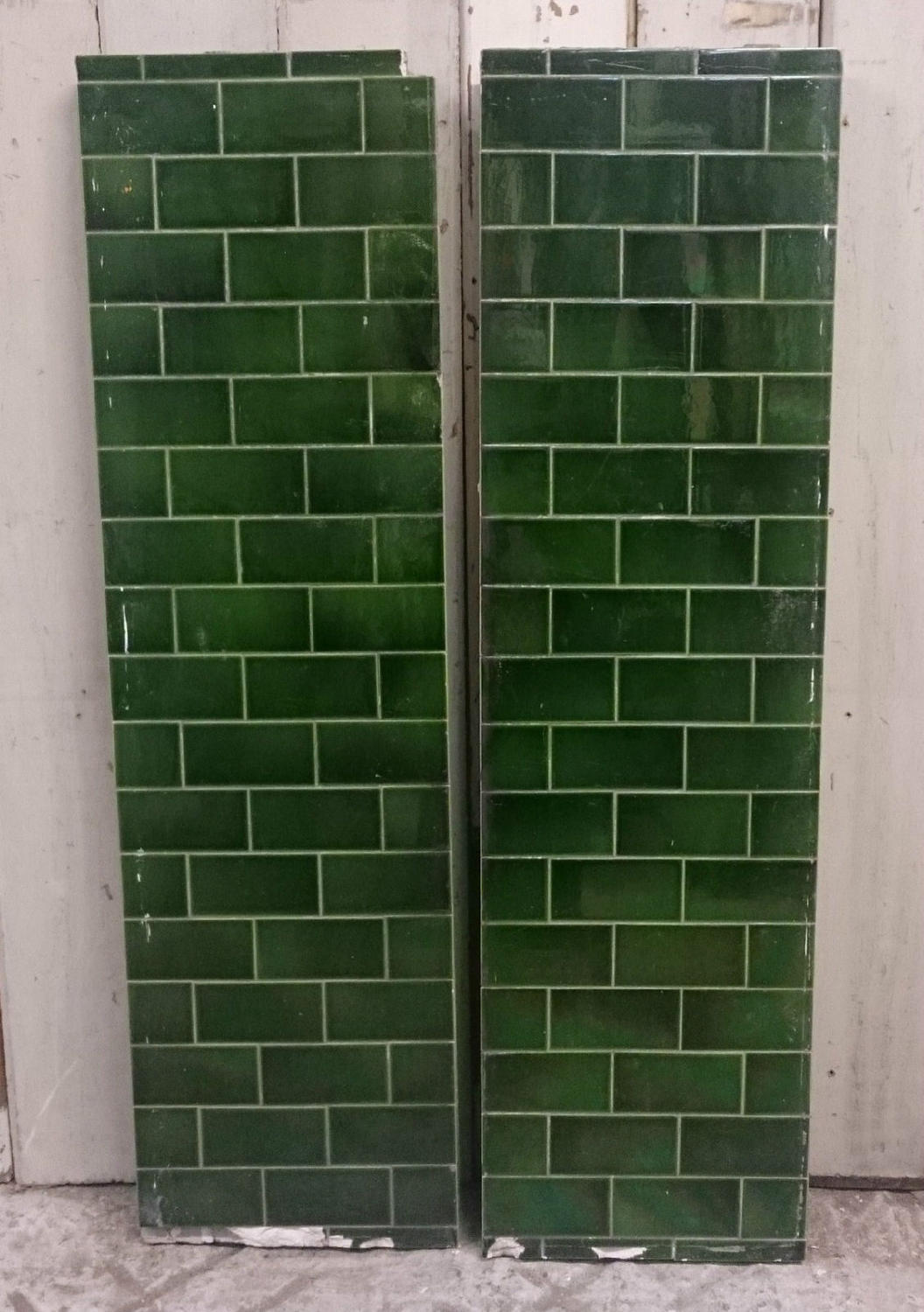FX0004 Two Heavy Green Metro Style Fire Tile Panels Concrete Backed