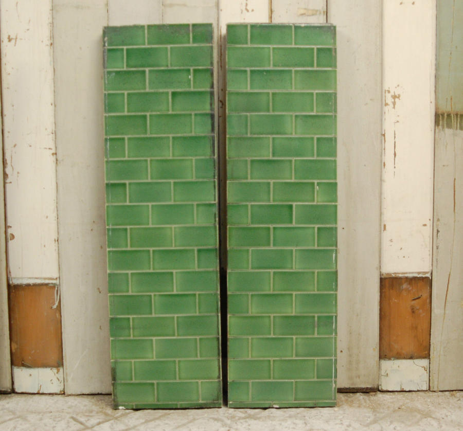 FX0003 Two Heavy Green Metro Style Fire Tile Panels Concrete Backed