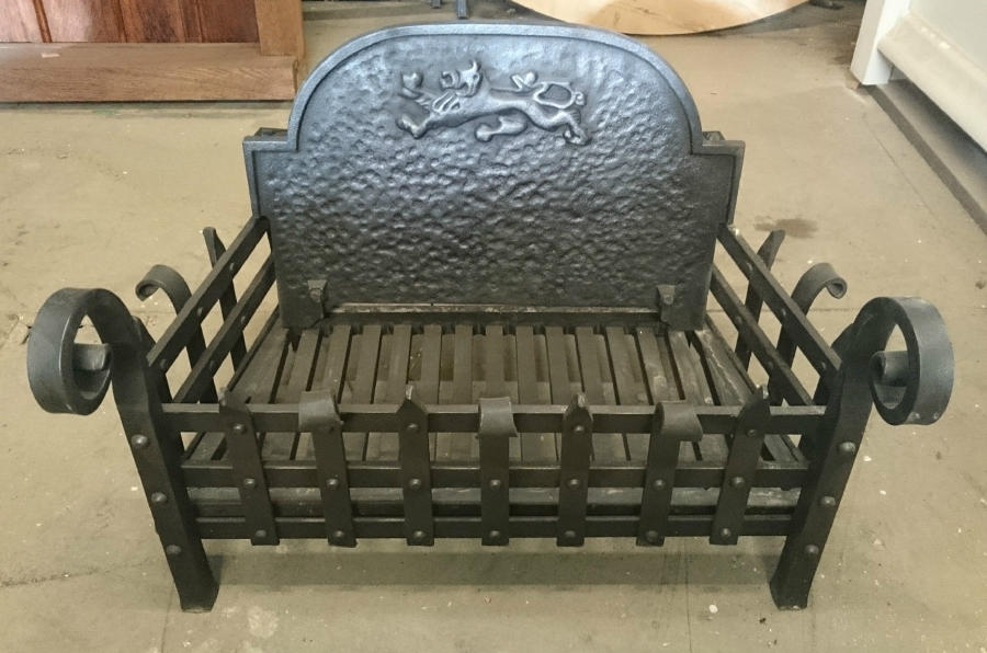 FB0020 A Large Reclaimed Hand Forged Cast Iron Fire Basket and Back