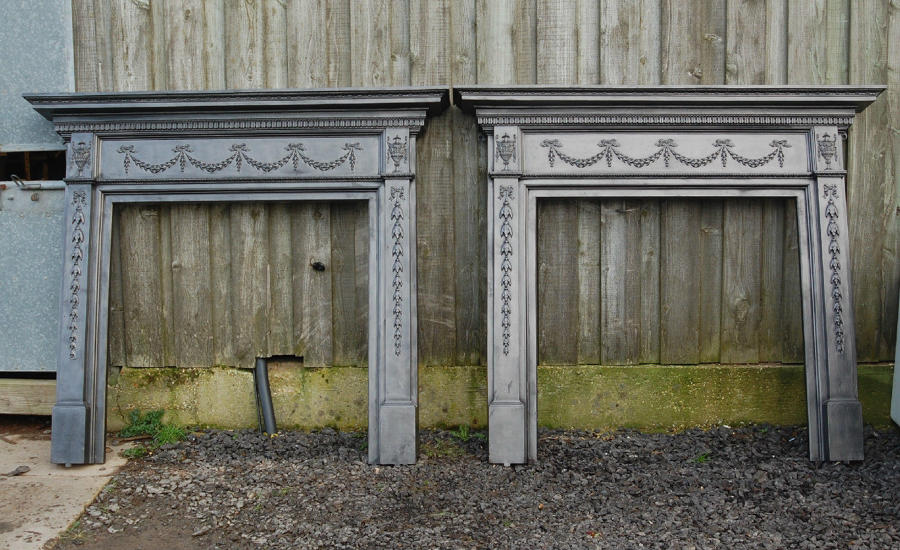 FS0033 A Pair of Heavy Victorian Cast Iron Fire Surrounds Adams Style