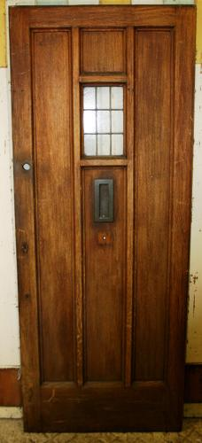 DE0750 A Late Arts & Crafts Oak Front Door c.1925