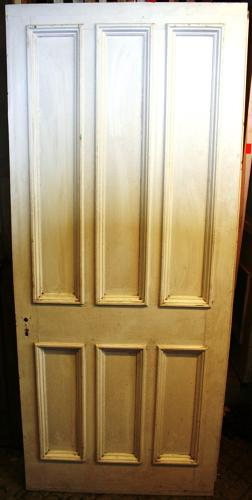 DB0624 A Late Victorian 6 Panelled Pine Door with Bolection Mouldings