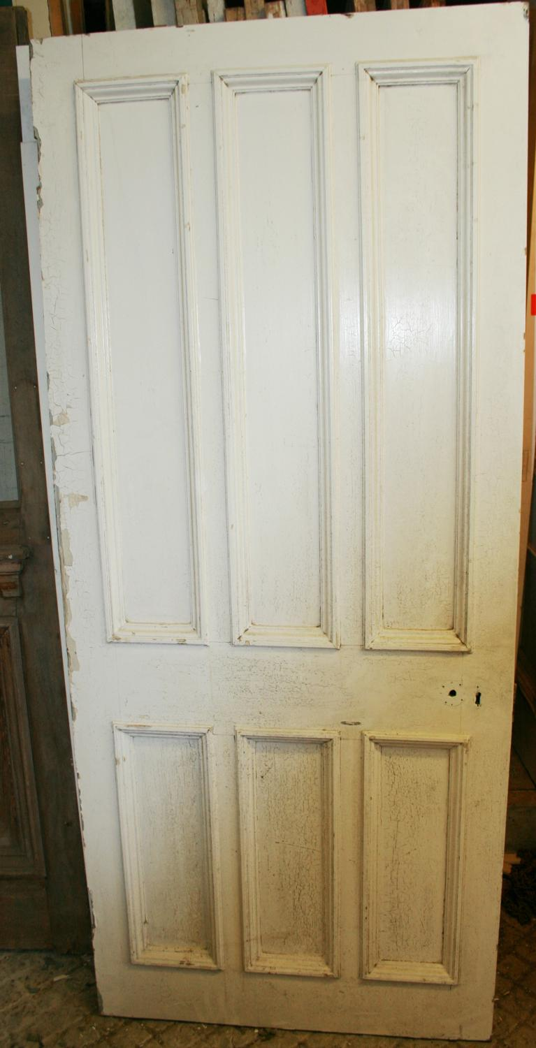 DB0625 A Late Victorian 6 Panelled Pine Door with Bolection Mouldings