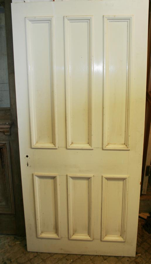 DB0626 A Late Victorian 6 Panelled Pine Door with Bolection Mouldings