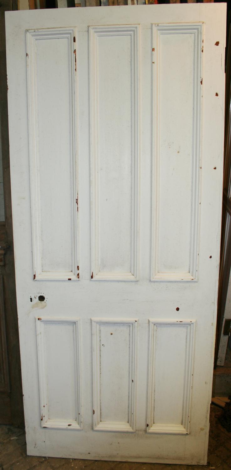 DB0627 A Late Victorian 6 Panelled Pine Door with Bolection Mouldings
