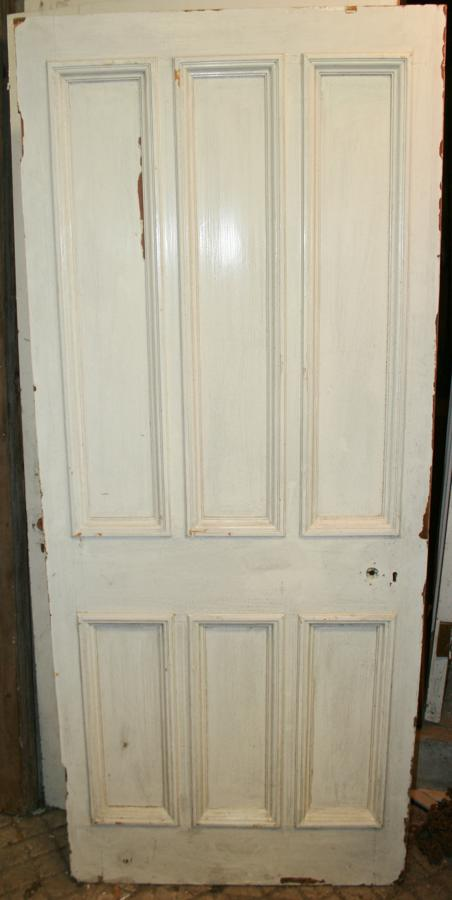DB0628 A Late Victorian 6 Panelled Pine Door with Bolection Mouldings