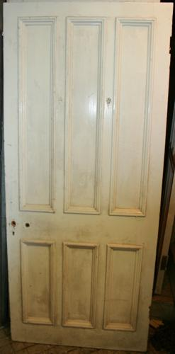 DB0629 A Late Victorian 6 Panelled Pine Door with Bolection Mouldings