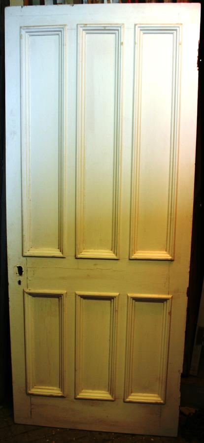 DB0630 A Late Victorian 6 Panelled Pine Door with Bolection Mouldings