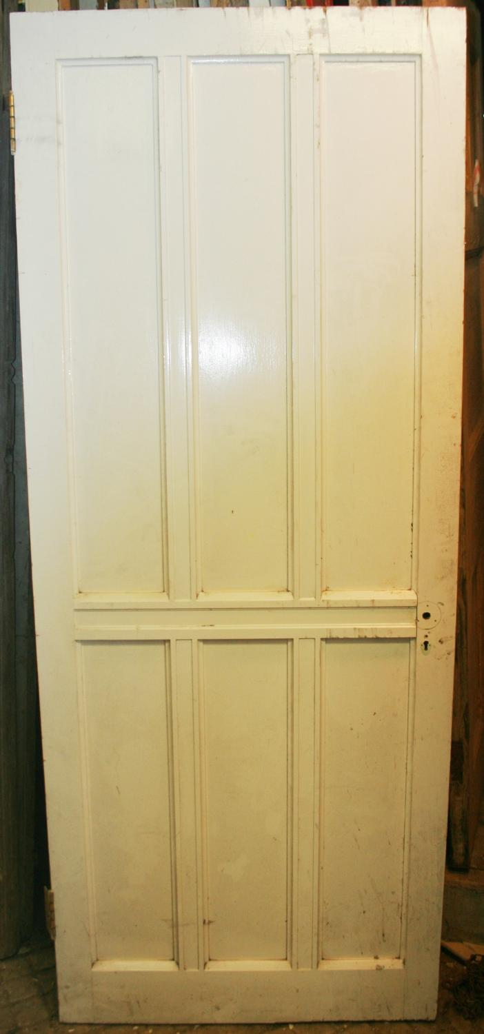 DB0631 A Late Victorian 6 Panelled Pine Door with Bolection Mouldings