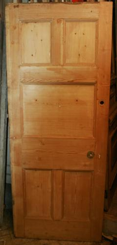 DB0632 A Late Victorian 5 Panelled Pine Door for internal or external