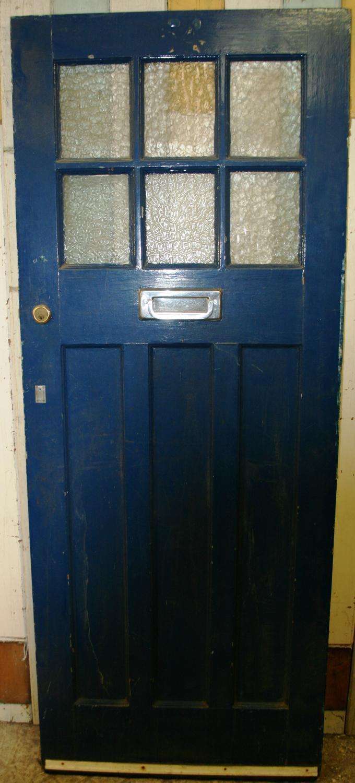 DE0402 An Edwardian Pine Front Door with 6 Glazed Panels