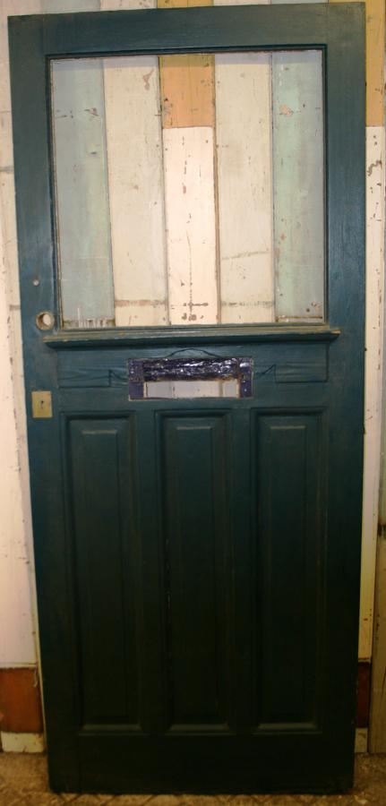 DE0454 An Edwardian Pine Front Door with a Single Panel for Glazing