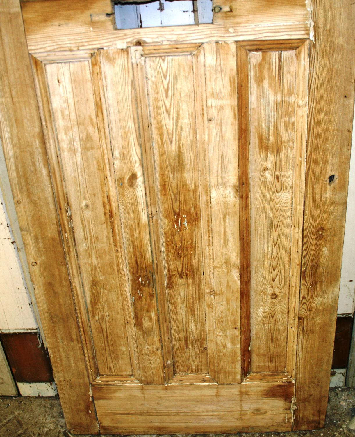 De0485 An Edwardian Pine Front Door With An Oval Panel For Glazing