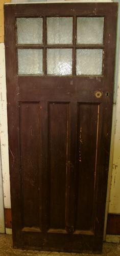 DE0624 An Edwardian Pine Front Door with 6 Glazed Panels