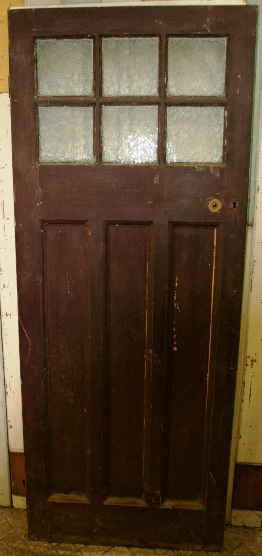 De0624 An Edwardian Pine Front Door With 6 Glazed Panels In