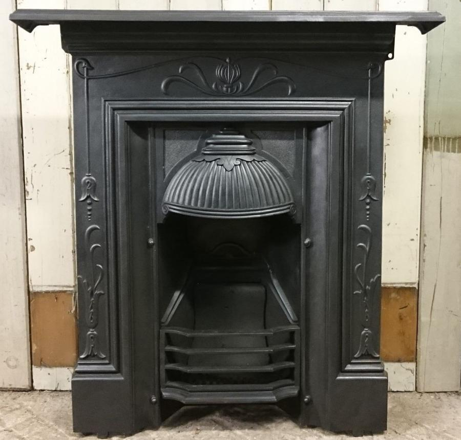 Attractive cast iron Art Nouveau combination fire for living/bedroom