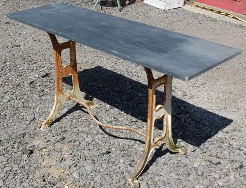 Slate topped garden table on cast iron singer sewing machine base