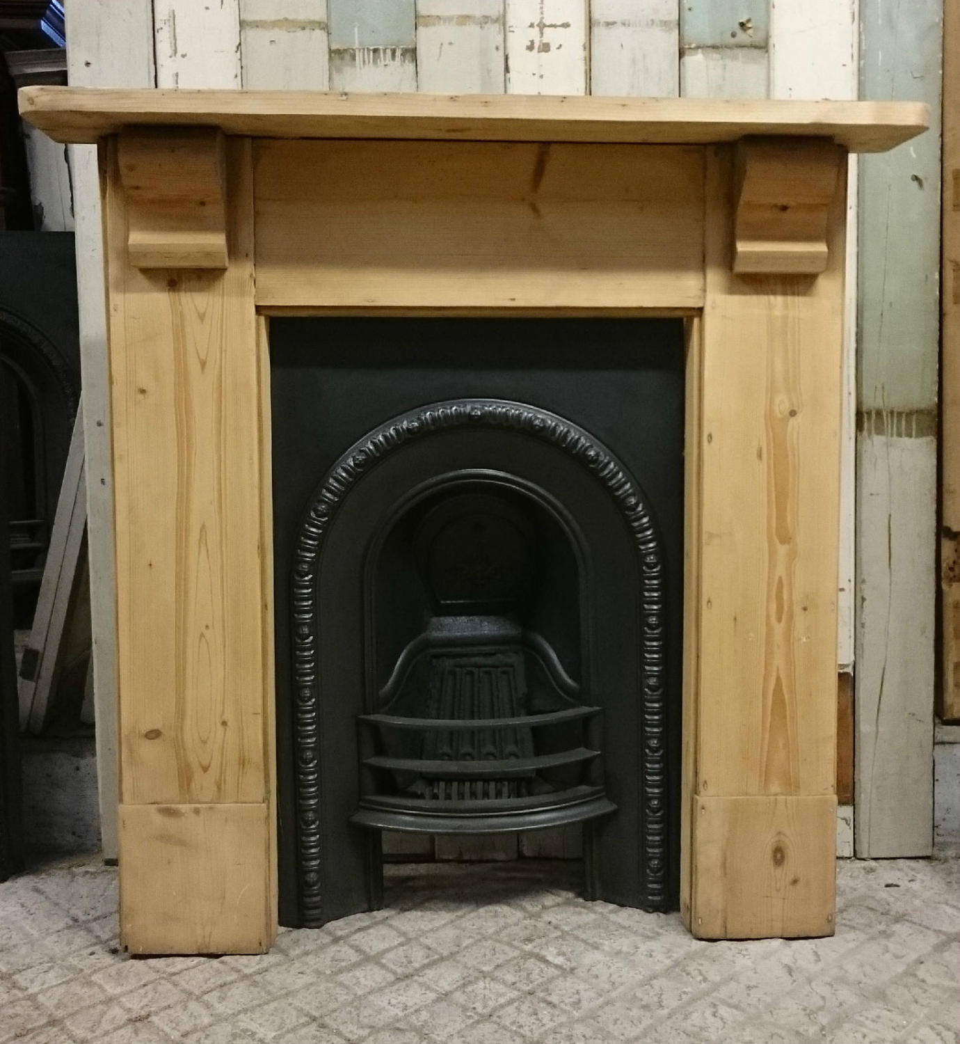 Victorian Cast Iron Fire Insert and Pine Surround for Decorative Use