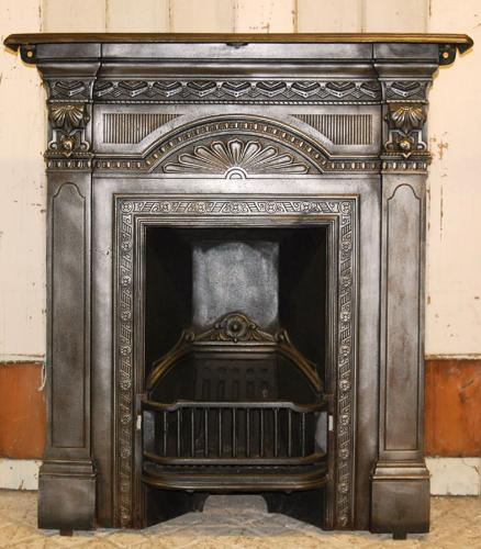 A Beautiful Cast Iron Victorian Combination with Fire Fan Detail