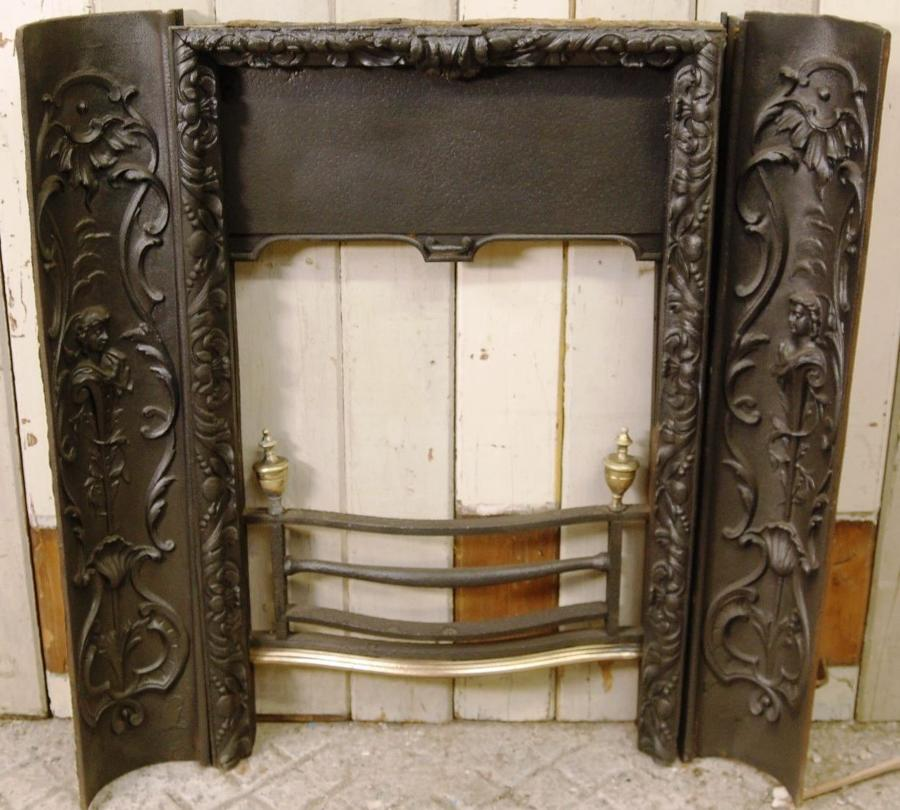 Decorative Georgian Cast Iron Fire Front and Decorative Cheeks