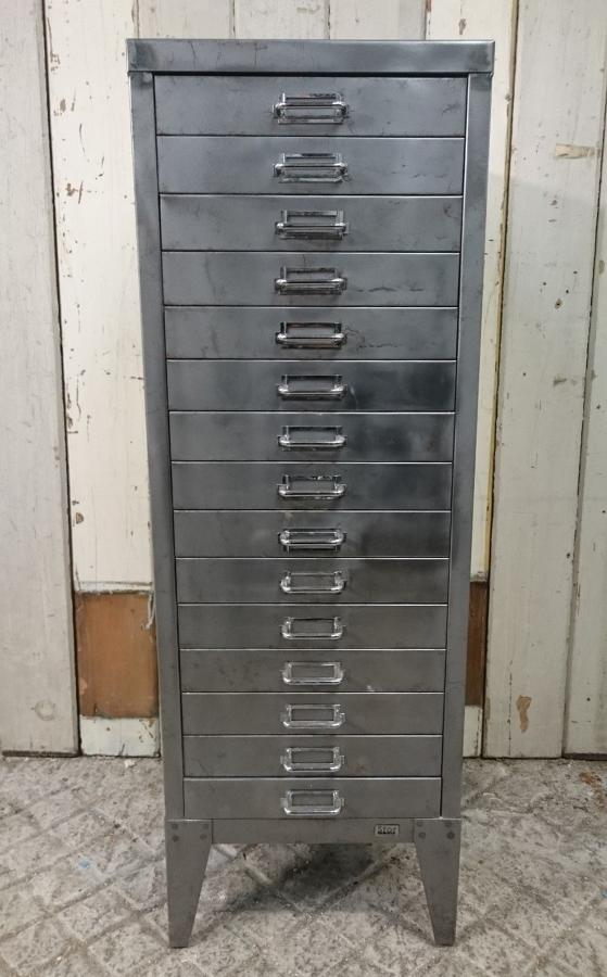 """A Reclaimed Stripped and Lacquered """"Stor"""" Steel Filing Cabinet"""