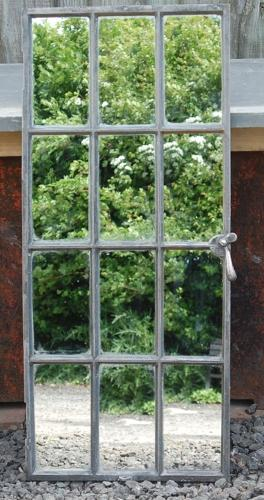 Antique Upcycled Cast Iron Industrial Window Mirror
