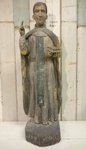 A Late C.19 Hand Carved Wooden Statue of Saint Vincent (São Vicente)